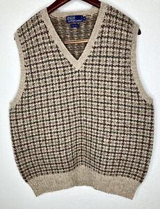 Vintage Polo Ralph Lauren Brown Houndstooth 100% Wool Sweater Vest Mens XL MINT!