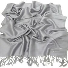 SILVER Grey Tinta Unita Design Scialle Pashmina Sciarpa Wrap Stola CJ Apparel * NUOVO *