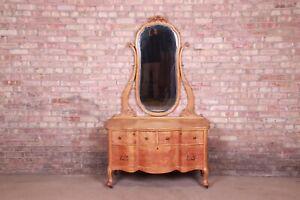Antique Birdseye Maple Dresser With Mirror, Circa 1900