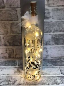 HANDMADE LED LIGHT UP BOTTLE CAN BE PERSONALISED SMILE