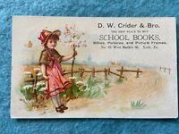D.W. Crider & Bro. School Books, York Pennsylvania Vintage Advertising Postcard
