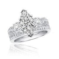 GIA Certified 3.00 CT Marquise & Round Cut Diamond Platinum Diamond Bridal Set