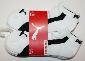 Puma Men's 6 pair Low Cut  Men Socks 10-13 White NWT