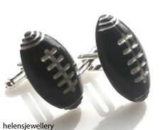 GORGEOUS HANDMADE RUGBY AMERICAN FOOTBALL CUFFLINKS + FREE GIFT BAG