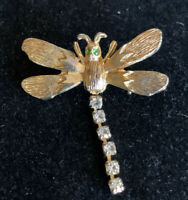 "Vintage Gold Tone & Rhinestone Dangle Dragonfly Brooch Pin ~1.25"""