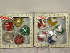 Vintage Glass Christmas Ball Ornaments Lot of 2 Set In Box