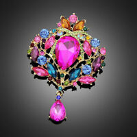 Vintage Style Extra Large Multi Colour Gold Diamante Crystal Drop Brooch Pin