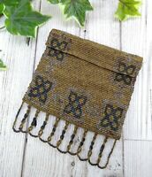Antique / Vintage Small French Beaded Purse Bag in Bronze Colour