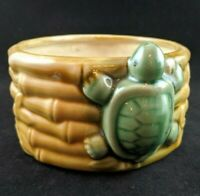 Vintage Turtle Bamboo Planter Majolica? Glazed Costa Farms Pottery Succulents