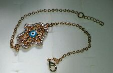 Eye Good Luck Designer Bracelet Crystals 14k Yellow Gold Plated Hamsa Nazar Evil