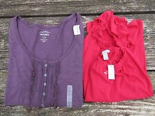 NWT Women's Lot of 2 Old Navy Shirts Size L Purple 3/4 Sleeve Pink Sleeveless