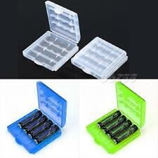 6 Pcs Hard Plastic Blue/Green/White Holder AA/AAA Battery Storage Box Case JMHG
