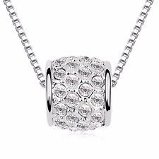 18K Gold GP SWAROVSKI Element Crystal Unique Circle Pendant Necklace White