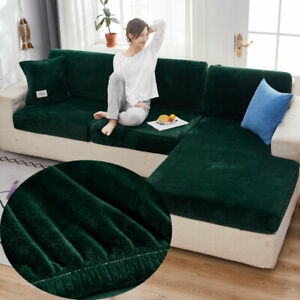 Velvet Sofa Cushion Cover Elastic Seat Slipcover Pet Kids Furniture Protector