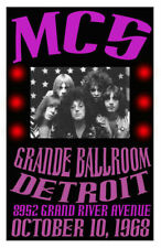 Mc5 Replica Grande Ballroom Detroit 1968 Concert Poster