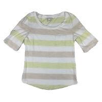 Banana Republic Women X Small XS Short Sleeve Scoop Neck Blouse Shirt Top Stripe