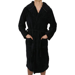 Mens-Bathrobe Hooded -ROBE Coral Fleece - SUPER SOFT Heavy Weight- USA Seller