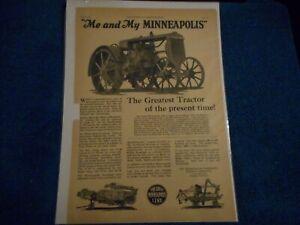 1927 Minneapolis Moline Print Advertisement: Model 17-30 Pictured, Hopkins, Minn