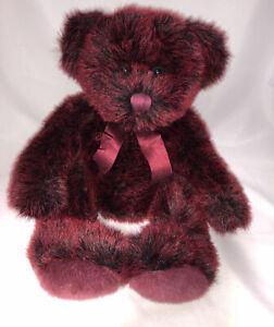 "RUSS Berrie & Co. Red & Black Teddy Bear - Romanoff 14"" Vintage Plush"