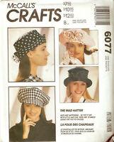 McCALLS PATTERN 6077 Misses Hats Pattern Newsboy Baseball Holmes The Mad Hatter