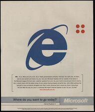 1997 MICROSOFT INTERNET EXPLORER 4 e Logo VINTAGE AD