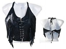 Black Leather Fringed and Laced Halter Top Motorcycle Biker Chick One Size New!