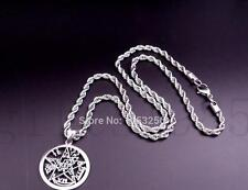 Mens Pentagram Pendant Amulet Stainless Steel Magic Gothic with Rope Chain 22''