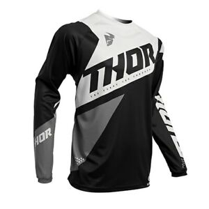 Thor Sector Blade MX Motocross Offroad Race Jersey Black White Adults