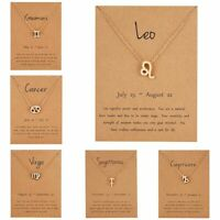 Zodiac Sign 12 Constellation Necklaces Pendants Charm Gold Chain Choker Necklace