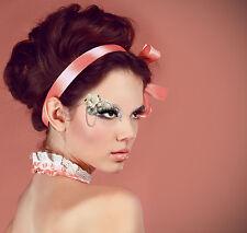 Reusable Hanging Jewel Gem Rose Flower Makeup Costume Half Face Glitter Mask Set