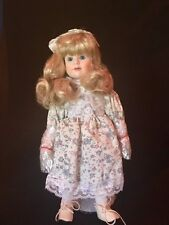 """Fine 12"""" Porcelain Blonde Hair Doll Made in Taiwan R.O.C. w stand - New in box"""