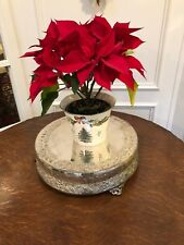 ANTIQUE VINTAGE SILVER PLATE FOOTED PLATEAU CENTERPIECE WITH FLOWERS VINES MOTIF