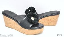 Coach Jazmin Leather/Canvas Cork Wedge Sandal Platform Slide Black 8.5 New