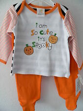 NEW ABSORBA 2 PIECE SET HALLOWEEN I AM SO CUTE ITS SPOOKY SIZE 6-9 MONTHS FOOTED