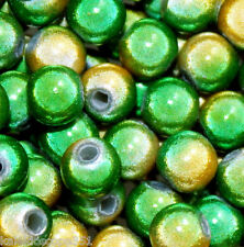 MIRACLE BEAD TWO TONE YELLOW & GREEN 4MM ROUND JEWELRY CRAFT 120 BEADS MB21