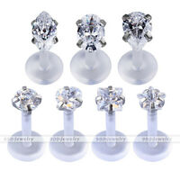 7pcs 16G Barbell Silvery Steel Ear Stud Tragus Labret Helix Piercing Earrings