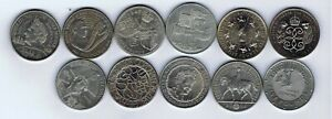 11 different UK five pound £5 coins : 1990 - 2005