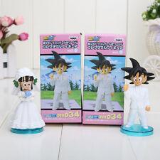 8cm 2pcs/set New Japan Anime Dragon Ball Goku ChiChi Wedding PVC Figure Toys