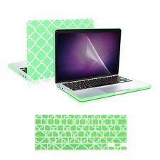"""Green Quatrefoil Case +Keyboard Skin + LCD for Macbook Pro 13""""Retina A1425/A1502"""
