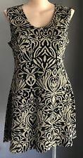 SIMPLY BE Black & Gold Jacquard Stretch Knit Skater Dress Plus Size 24