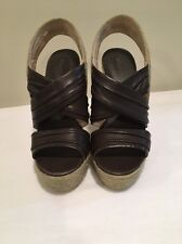 Boutique 9 Espadrille Dark Brown Leather Sandals Wedges Btilly Size 7 Open Toe