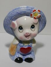 """Pig in Overalls Porcelain Piggy Bank ~5.5"""" Height"""