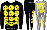 Girls Emoji Sweatshirt New Kids Emoticons Smiley Face Jumper Top Pants Ages 5-13