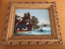 "Vintage Reverse Glass Painting ""Scene In Venice"""