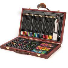 Valigetta Legno Pittore 78pz Colori Pittura Pastelli Acquerelli Professionale