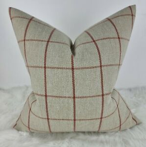 Classic Check  Auburn Beige Red Cushion Cover John Lewis Fabric Contemporary