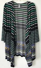 NEW Catherines 3X 3/4 Sleeve Open front Knit Cardigan Poly/Spx Black Green