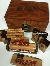 RAWthentic Gift Set RAW Maple Wood Rolling Paper Storage Box FULL OF ACCESSORIES