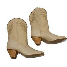 Vintage Dingo Cowboy Boots Women's Sz 7 1/2 M Off White Western Mid Calf