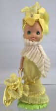 """Vintage Rose Petal Place Daffodil 5"""" Doll Purse Hat Stand Base Near Complete '84"""